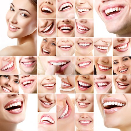 Collection of human smiles with healthy white teeth.