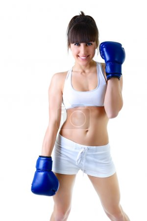 Photo for Sport young woman with perfect body in boxing gloves, fitness girl studio shot over white background - Royalty Free Image
