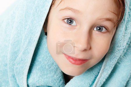 Little boy  after shower with bath towel