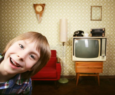 Little boy in vintage room