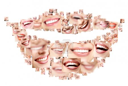 Photo for Smile collage of perfect smiling faces closeup. Conceptual set of beautiful wide human smiles with great healthy white teeth. Isolated over white background - Royalty Free Image