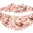 Smile collage of perfect smiling faces closeup. Co...