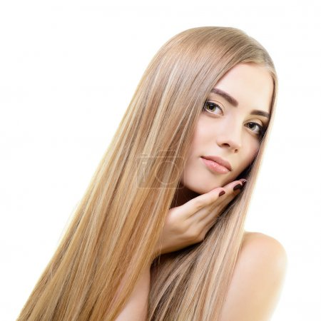 Photo for Hair. Beautiful bond girl with healthy long hair. Haicare and hairstyle. - Royalty Free Image