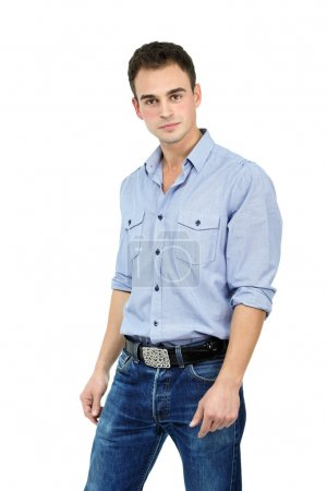 Man in blue shirt and jeans