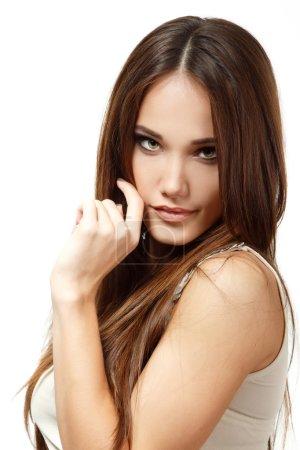 Teen girl with long  brown hair