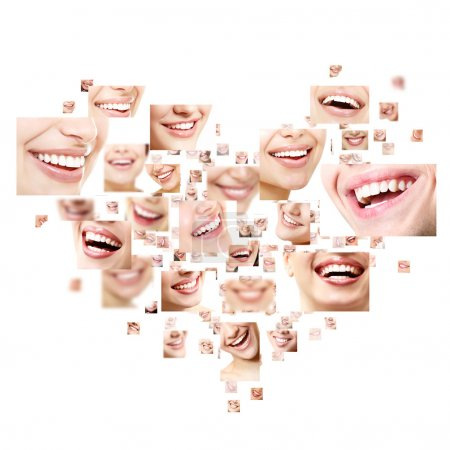 Photo for Heart collage of perfect smiles. Set of beautiful wide human smiles with great healthy white teeth. Isolated over white background - Royalty Free Image