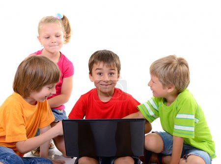 children playing   with laptop