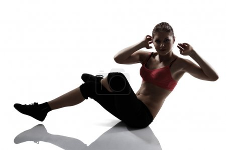Athletic woman shake the press