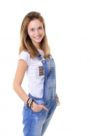 cheerful teen girl in blue denim catsuit