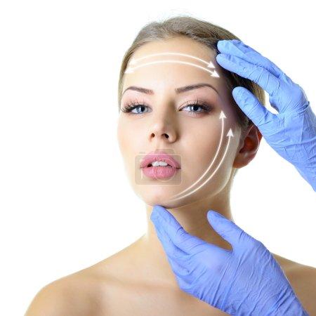Beauty treatment of  female face