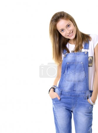 teen girl in blue denim catsuit