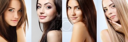 Photo for Group of beautiful girls, faces closeup over white - Royalty Free Image