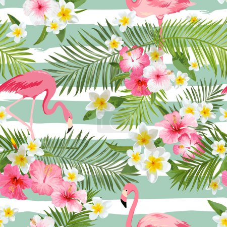 Illustration for Flamingo Background. Tropical Flowers Background. Vintage Seamless Pattern. Vector Background. - Royalty Free Image