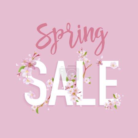 Spring Sale Banner. Sale background. Big sale. Floral Sale Tag. Sale poster. Vector Illustration. 50 % off