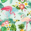 Tropical Flowers and Birds Background. Vintage Sea...