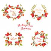 Pomegranates Floral Banners and Tags - for your design and scrapbook - in vector
