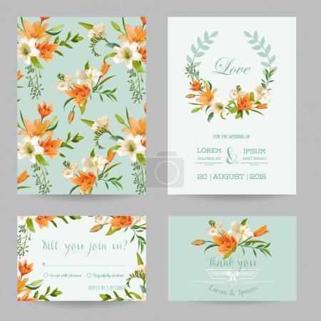 Illustration for Save the Date - Wedding Invitation or Congratulation Card Set - Autumn Lily Floral Theme - in Vector - Royalty Free Image