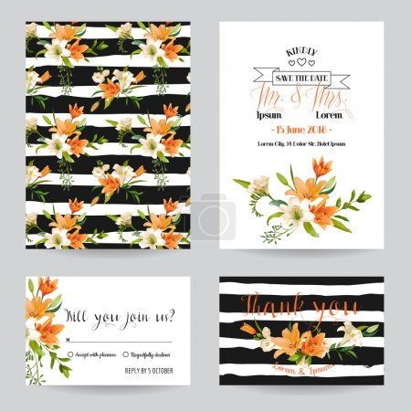 Save the Date - Wedding Invitation or Congratulation Card Set - Summer Lily Floral Theme - in Vector