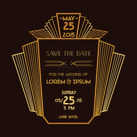 Save the Date - Wedding Invitation Card - Art Deco Vintage Style