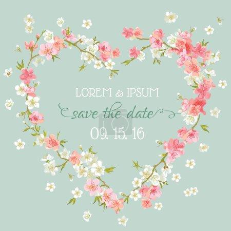 Illustration pour Mariage Invitation carte - enregistrer la Date - Floral rétro carte - vecteur - image libre de droit