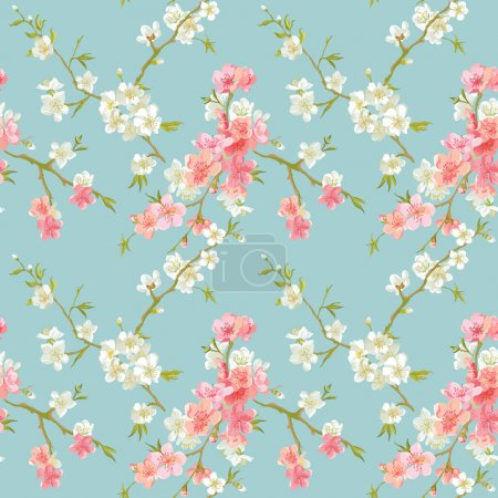 Illustration for Spring Blossom Flowers Background - Seamless Floral Shabby Chic Pattern - in vector - Royalty Free Image