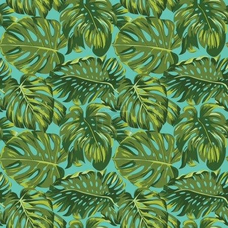 Illustration pour Feuilles tropicales Arrière-plan - Modèle sans couture - dans le vecteur - image libre de droit