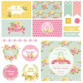 Baby Shower Flower Theme - Scrapbook Design Elements Background