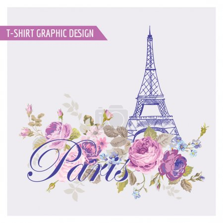 Illustration for Floral Paris Graphic Design - for t-shirt, fashion, prints - in vector - Royalty Free Image