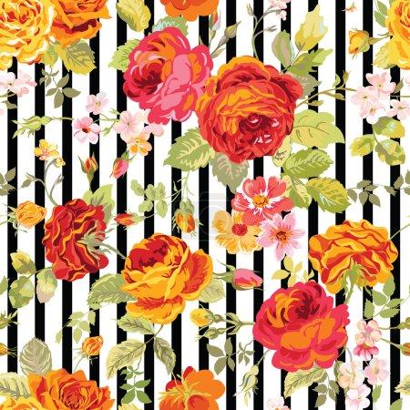 Illustration for Vintage Floral Background - seamless pattern for design, print, scrapbook - in vector - Royalty Free Image