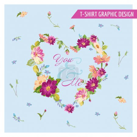Illustration for Floral Shabby Chic Graphic Design - for t-shirt, fashion, prints - in vector - Royalty Free Image
