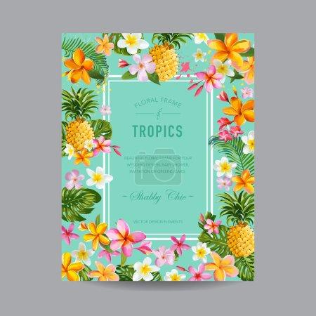 Tropical Floral Frame - for Invitation, Wedding, B...