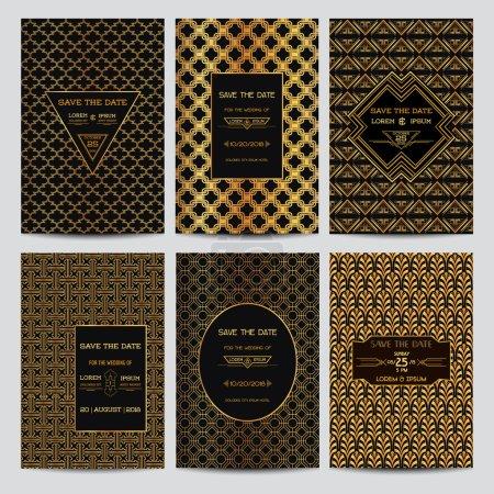 Zestaw kart zaproszenie na ślub - Save Data - styl Art Deco Vintage