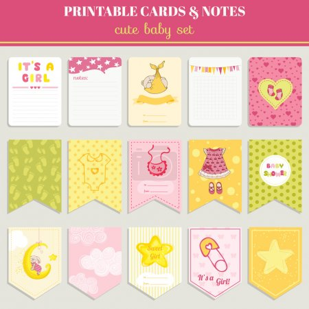 Illustration pour Set de cartes bébé fille - pour l'anniversaire, douche de bébé, partie, conception - vecteur - image libre de droit