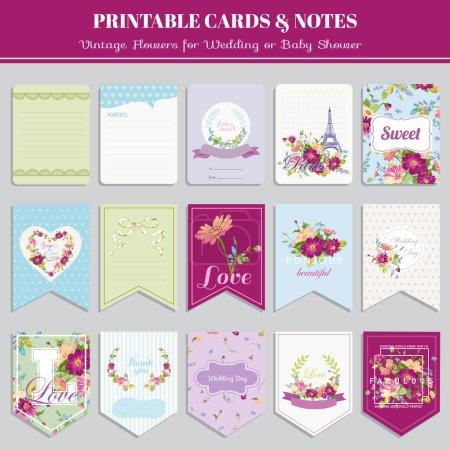 Illustration pour Set de cartes fleurs vintage - pour anniversaire, mariage, douche de bébé, partie, conception - vecteur - image libre de droit