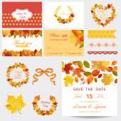Scrapbook Design Elements - Autumn Leaves Theme - Wedding or Baby Shower