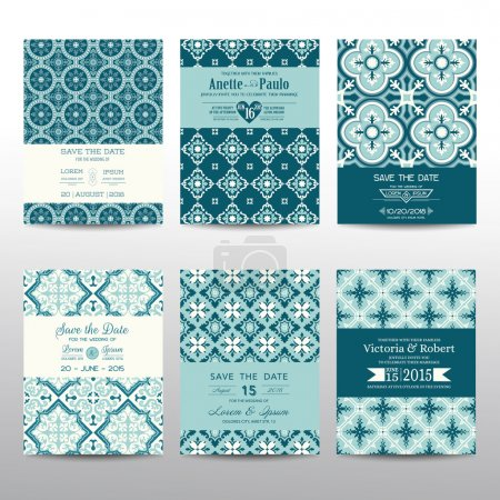 Illustration for Save the Date - Wedding Invitation Cards Set - Vintage Style - in vector - Royalty Free Image