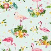 """Постер, картина, фотообои """"Фламинго птица и тропические цветы фон - ретро бесшовный фон"""""""