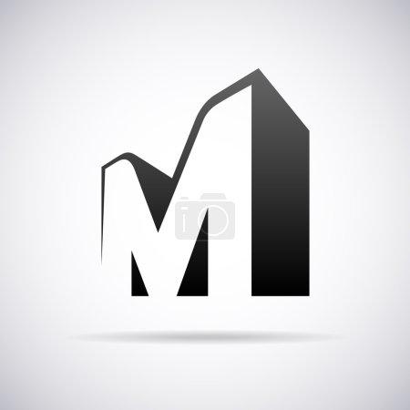 Vector logo for letter M. Design template