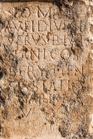 Photo for Pillar of stone with ancient Roman text in Byblos, Lebanon - Royalty Free Image