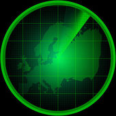 Radar screen with a silhouette of Europe