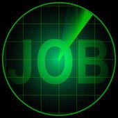 Radar screen with the word Job