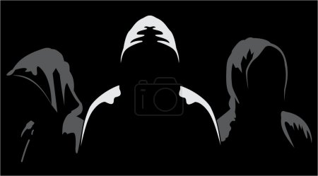 Illustration of three silhouettes of anonymous on ...