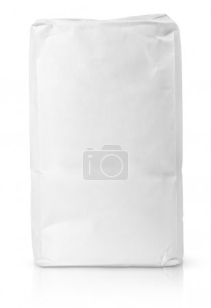Photo for Blank paper bag package of flour isolated on white with clipping path - Royalty Free Image