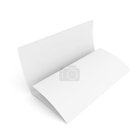 Foto de Maqueta del folleto folleto tríptico en blanco papel aislado sobre fondo blanco - Imagen libre de derechos