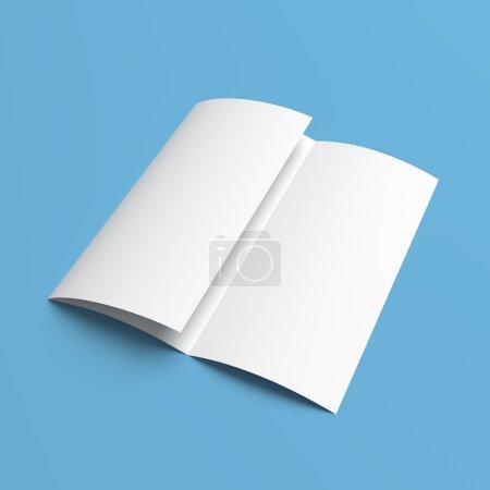 Foto de Maqueta de folleto folleto tríptico en blanco libro blanco sobre fondo azul - Imagen libre de derechos