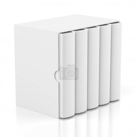 Photo for Group of blank books in cardboard box cover isolated on white background - Royalty Free Image