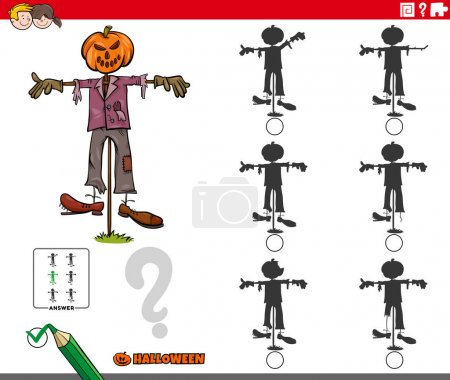 Illustration for Cartoon illustration of finding the shadow without differences educational game for children with scarecrow Halloween character - Royalty Free Image