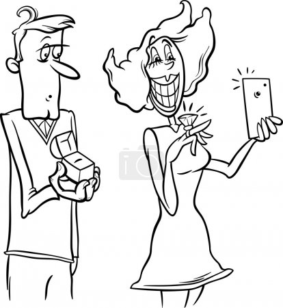 Illustration for Black and White Cartoon Illustration of Woman with Engagement Ring Doing Selfie Photo by Smart Phone for Social Media - Royalty Free Image