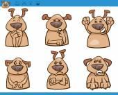 Cartoon Illustration of Funny Dogs Expressing Emotions Set