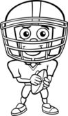 Black and White Cartoon Illustration of Funny Boy American Football Player with Ball for Coloring Book
